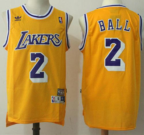 Lakers  2 Lonzo Ball Yellow Throwback Stitched NBA Jersey 97f93a250686