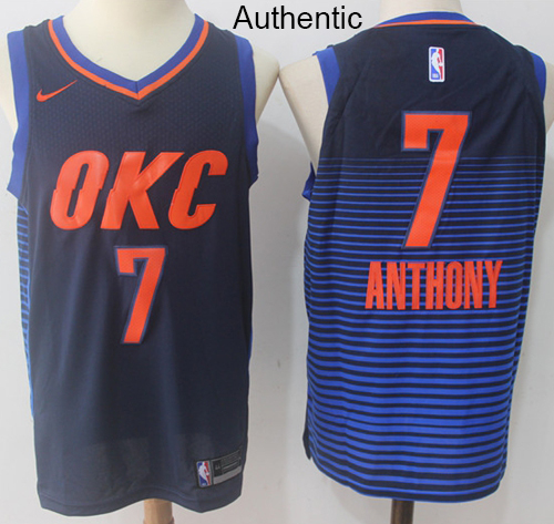 Nike Thunder  7 Carmelo Anthony Navy Blue NBA Authentic Statement Edition  Jersey 751b9a988