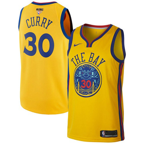 06323c5d008 Nike Warriors  30 Stephen Curry Gold The Finals Patch NBA Swingman City  Edition Jersey