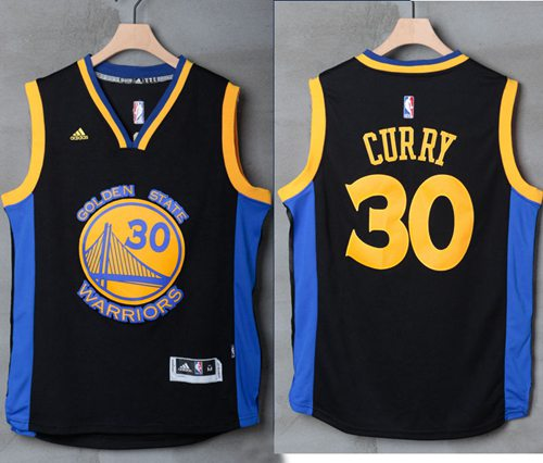 6efa8f2187f Warriors  30 Stephen Curry Black Blue Stitched NBA Jersey